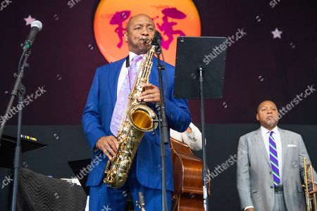 Branford Marsalis performs during the Ellis Marsalis Family Tribute at the New Orleans Jazz and Heritage Festival, in New Orleans
