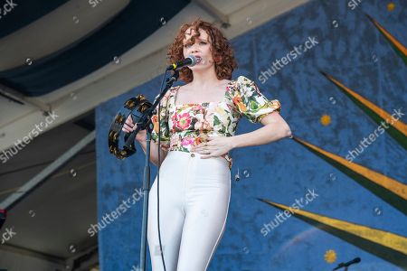 Stock Picture of Nora Patterson of Royal Teeth performs at the New Orleans Jazz and Heritage Festival, in New Orleans