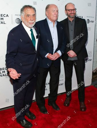 "Francis Ford Coppola, Robert Duvall, Steven Soderbergh. Director Francis Ford Coppola, from left, actor Robert Duvall and Steven Soderbergh attend a screening of the ""40th Anniversary and World Premiere of Apocalypse Now Final Cut"" during the 2019 Tribeca Film Festival at the Beacon Theatre, in New York"