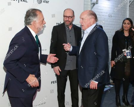"""Francis Ford Coppola, Steven Soderbergh, Robert Duvall. Director Francis Ford Coppola, from left, Steven Soderbergh, and actor Robert Duvall attend a screening of the """"40th Anniversary and World Premiere of Apocalypse Now Final Cut"""" during the 2019 Tribeca Film Festival at the Beacon Theatre, in New York"""