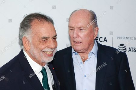 "Francis Ford Coppola, Robert Duvall. Director Francis Ford Coppola, left, and actor Robert Duvall attend a screening of the ""40th Anniversary and World Premiere of Apocalypse Now Final Cut"" during the 2019 Tribeca Film Festival at the Beacon Theatre, in New York"
