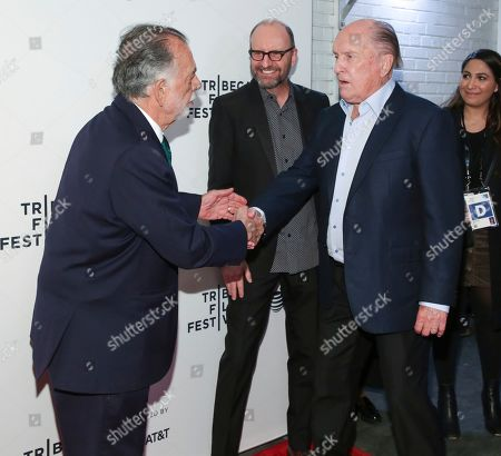 "Francis Ford Coppola, Steven Soderbergh, Robert Duvall. Director Francis Ford Coppola, from left, Steven Soderbergh, and actor Robert Duvall attend a screening of the ""40th Anniversary and World Premiere of Apocalypse Now Final Cut"" during the 2019 Tribeca Film Festival at the Beacon Theatre, in New York"