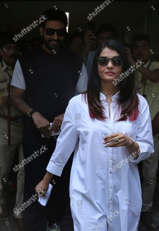 Abhishek Bachchan, Aishwarya Rai. Bollywood star Aishwarya Rai, front, along with husband Abhishek Bachchan leaves after casting their vote at a polling station in Mumbai, India . Indians were voting Monday in the fourth phase of a staggered national election, with Prime Minister Narendra Modi's Hindu nationalist party facing a major test as it looks to govern for another five years