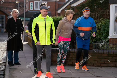 Ep 9757 Monday 29th April 2019 - 2nd Ep Dev Alahan, as played by Jimmi Harkishin, and Steve McDonald, as played by Simon Gregson, join Tim Metcalfe, as played by Joe Duttine, and Sally Metcalfe, as played by Sally Dynevor, on their power walk. With Eileen Grimshaw, as played by Sue Cleaver.
