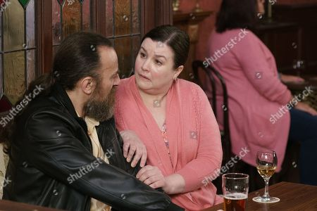 Ep 9759 Wednesday 1st May 2019 - 2nd Ep Over a drink, Jan, as played by Piotr Baumann, does his best to put Mary Taylor, as played by Patti Clare, off, making out that the love of his life was killed by a cattle truck in Poland. But his plan backfires when Mary misreads the signals and gazes at him, dreamy eyed.