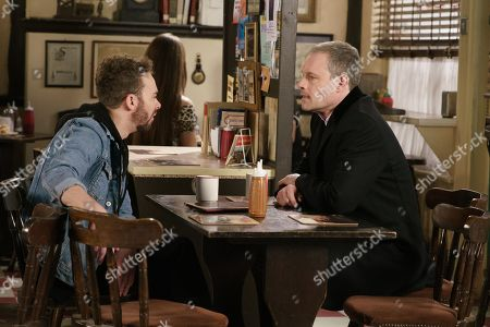 Ep 9760 Friday 3rd May 2019 - 1st Ep Nick Tilsley, as played by Ben Price, warns David Platt, as played by Jack P Shepherd, that Shona overheard them discussing some dodgy money and he needs to put her off the scent.