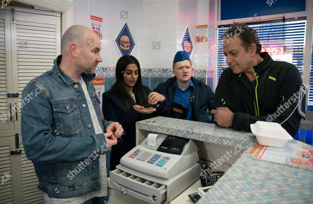 Ep 9762 Monday 6th May 2019 -1st Ep Dev Alahan, as played by Jimmi Harkishin, is surprised when he goes to Kebab shop and fins Gemma Winter, as played by Dolly-Rose Campbell, with her feet up watching a film and Tim Metcalfe, as played by Joe Duttine, helping himself behind the counter. With Alya Nazir, as played by Sair Khan, Chesney Brown, as played by Sam Aston.