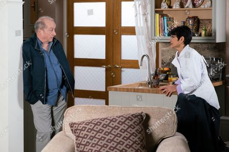 Ep 9761 Friday 3rd May 2019 - 2nd Ep When Yasmeen Nazir, as played by Shelley King, suggests Sally should bring Tim to Speed Daal for a healthy meal, Sally's disparaging, convinced all curries are fattening. Yasmeen vows to prove her wrong. Geoff Metcalfe's, as played by Ian Bartholomew, put out when Yasmeen scuppers his plan for a romantic meal with her own plan to have Sally and Tim round for a healthy curry.