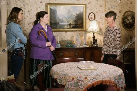 Ep 9761 Friday 3rd May 2019 - 2nd Ep Mary Taylor, as played by Patti Clare, and Tracy Barlow, as played by Kate Ford, are shocked to find the door of number 3 open and Freda, as played by Ali Briggs, inside. Freda explains that Norris has asked her to sell the house, Mary is angry that he has not contacted her.