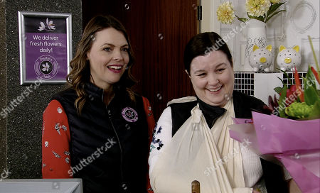 Ep 9756 Monday 29th April 2019 - 1st Ep Jan calls in the flower shop and buys an expensive bouquet which he presents to Mary Taylor, as played by Patti Clare, telling her he's truly sorry for causing her injury. Mary starts to thaw towards him. With Tracy Barlow, as played by Kate Ford.
