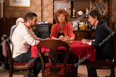 Ep 9757 Monday 29th April 2019 - 2nd Ep Claudia Colby, as played by Rula Lenska, is shocked to see the state Peter Barlow, as played by Chris Gascoyne, is in when she goes to the house.