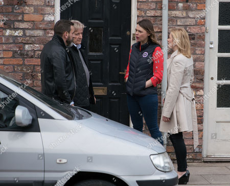 Ep 9756 Monday 29th April 2019 - 1st Ep As Ken Barlow, as played by William Roache, and Peter Barlow, as played by Chris Gascoyne, return from their meeting, Leanne Tilsley, as played by Jane Danson, approaches and rails at Peter for his treatment of Simon. With Tracy Barlow, as played by Kate Ford.