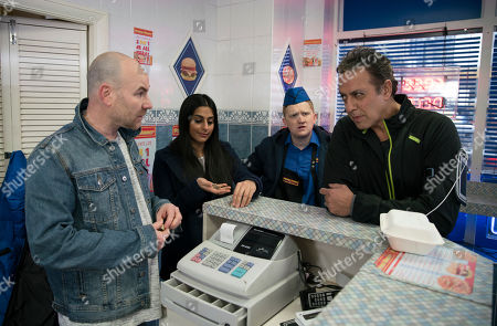 Ep 9762 Monday 6th May 2019 -1st Ep Dev Alahan, as played by Jimmi Harkishin, is surprised when he goes to Kebab shop and fins Gemma Winter with her feet up watching a film and Tim Metcalfe, as played by Joe Duttine, helping himself behind the counter. With Alya Nazir, as played by Sair Khan, Chesney Brown, as played by Sam Aston.