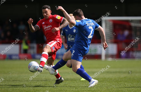Crawley's Reece Grego-Cox vies for the ball against Tranmere's Adam Buxton during the EFL 2 match between Crawley Town and Tranmere Rovers at the Peoples Pension Stadium in Crawley. 04 May 2019