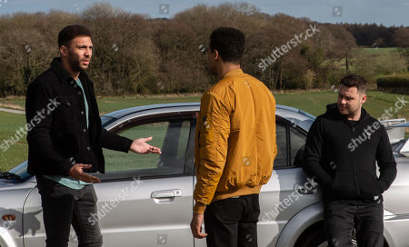 Ep 8468 Tuesday 7th May 2019 - 1st Ep On a road Billy, as played by Jay Kontzle, recalls the night out to Ellis, as played by Asan N'Jie, and Aaron Dingle, as played by Danny Miller.