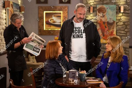 Stock Photo of Ep 8464 Thursday 2nd May 2019 - 1st Ep On the day of the local election, Nicola King, as played by Nicola Wheeler, worries whether she can beat Hilary and Harry. With Rodney Blackstock, as played by Patrick Mower, Jimmy King, as played by Nick Miles, and Bernice Blackstock, as played by Samantha Giles.
