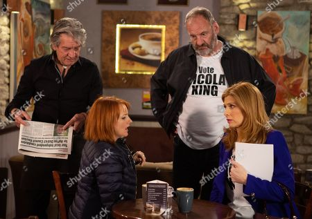 Stock Picture of Ep 8464 Thursday 2nd May 2019 - 1st Ep On the day of the local election, Nicola King, as played by Nicola Wheeler, worries whether she can beat Hilary and Harry. With Rodney Blackstock, as played by Patrick Mower, Jimmy King, as played by Nick Miles, and Bernice Blackstock, as played by Samantha Giles.