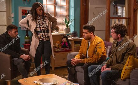 Ep 8471 Thursday 9th May 2019 - 1st Ep Jessie Dingle, as played by Sandra Marvin, and Marlon Dingle, as played by Mark Charnock, want answers from Billy, as played by Jay Kontzle, and Ellis, as played by Asan N'Jie.