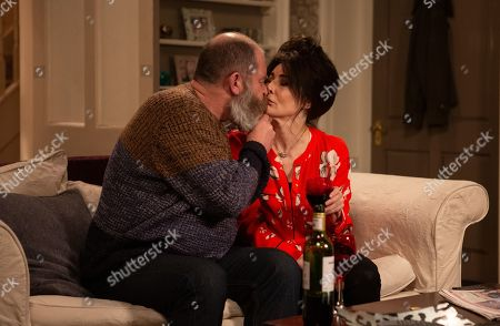 Ep 8461 Tuesday 30th April 2019 - 1st Ep Faith Dingle, as played by Sally Dexter, moans to Chas and Bear, as played by Joshua Richards, about Pollard's dismissive behaviour towards her and Bear is more than happy to be a shoulder to cry on. Bear moves in for a kiss with Faith.
