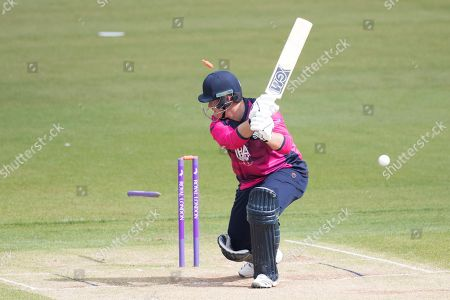 Richard Levi Northamptonshire CCC plays on and looses his off stump to the first delivery of the innings from Mohammad Amir (Pakistan) during Northamptonshire vs Pakistan, One-Day Tour Match Cricket at the County Ground on 29th April 2019
