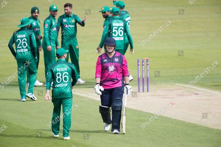 Richard Levi Northamptonshire CCC trudges off after playing on to the first delivery of the game during Northamptonshire vs Pakistan, One-Day Tour Match Cricket at the County Ground on 29th April 2019