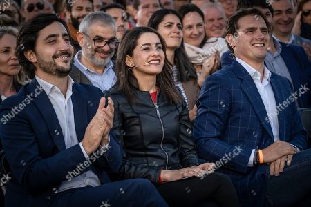 Representatives of the Citizens (Ciudadanos) political party are seen at the start of the campaign event ahead of the general elections of April 28. Ines Arrimadas Garcia (C) and Albert Rivera (R).