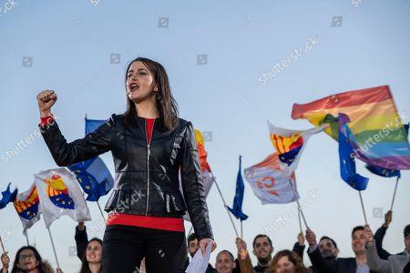 Ines Arrimadas Garcia, number 2 for Barcelona to the Spanish congress is seen during her speech.