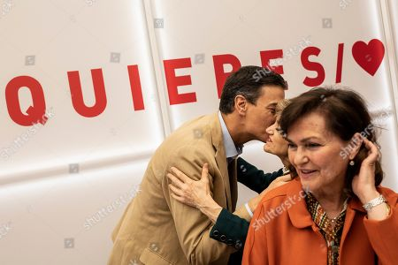 Spain's caretaking Prime Minister Pedro Sanchez, left, is welcomed by Socialists Maria Luisa Carcedo, center, and Carmen Calvo during a party meeting at Socialist party headquarters in Madrid, Spain, . Spain's political future is no clearer after a third election since 2015, with experts saying Monday that it won't be anytime soon before the muddle is resolved. The incumbent prime minister, Pedro Sanchez, celebrated after his Socialist party won the most votes in Sunday's ballot. But Spanish politicians were doing the math on how Sanchez might survive the next four years without a parliamentary majority