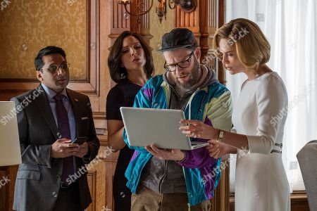 Ravi Patel as Tom, June Diane Raphael as Maggie Millikin, Seth Rogen as Fred Flarsky and Charlize Theron as Charlotte Field