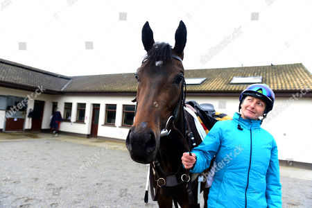 Currabeg Stables, Curragh. The John Oxx trained SKITTER SCATTER and Stephanie Roussell at morning work ahead of this weekend's Qipco 1000 Guineas at Newmarket.