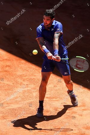Guido Andreozzi from Argentina in action during his first round match against Hugo Dellien from Bolivia at the Estoril Open Tennis tournament in Cascais, on the outskirts of Lisbon, Portugal, 29 April 2019.