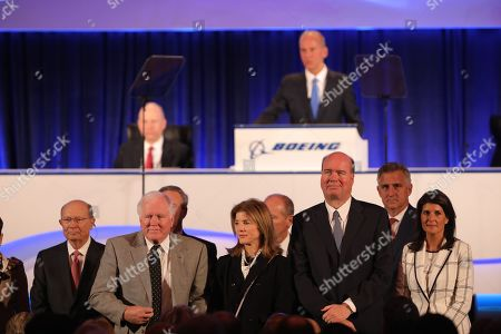 The Boeing board of directors including Nikki Haley (R) and Caroline Kennedy (3-R) are announced by Chief Executive Officer Dennis Muilenburg at the Boeing Annual General Meeting at the Field Museum in Chicago, Illinois, USA, 29 April 2019. Boeing management faced questions from shareholders on their handling of the 737 Max crisis and heavy losses of stock of some 10 per cent after October 2018 Lion Air and March 2019 Ethiopian Airlines 737 Max passenger plane accidents.