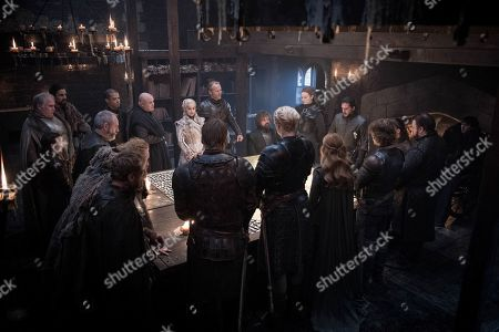 Richard Dormer as Beric Dondarrion, Kristofer Hivju as Tormund Giantsbane, Liam Cunningham as Davos Seaworth, Bella Ramsey as Lyanna Mormont, Rupert Vansittart as Yohn Royce, Jacob Anderson as Grey Worm, Conleth Hill as Lord Varys, Emilia Clarke as Daenerys Targaryen, Iain Glen as Jorah Mormont, Peter Dinklage as Tyrion Lannister, Sophie Turner as Sansa Stark, Kit Harington as Jon Snow, John Bradley as Samwell Tarly, Alfie Allen as Theon Greyjoy, Gemma Whelan as Yara Greyjoy, Gwendoline Christie as Brienne of Tarth and Nikolaj Coster-Waldau as Jaime Lannister