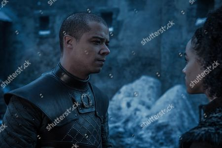 Jacob Anderson as Grey Worm and Nathalie Emmanuel as Missandei