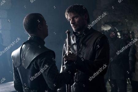 Jacob Anderson as Grey Worm and Nikolaj Coster-Waldau as Jaime Lannister