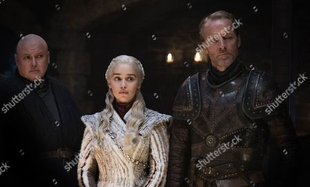 Conleth Hill as Lord Varys, Emilia Clarke as Daenerys Targaryen and Iain Glen as Jorah Mormont