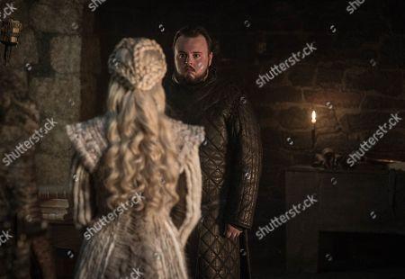 Emilia Clarke as Daenerys Targaryen and John Bradley as Samwell Tarly