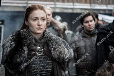 Sophie Turner as Sansa Stark, Gwendoline Christie as Brienne of Tarth and Daniel Portman as Podrick Payne