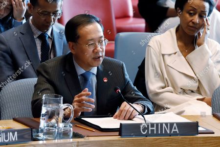 China's Ambassador Ma Zhaoxu speaks in the Security Council, at United Nations headquarters