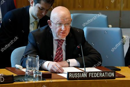 Russia's Ambassador Vasily Nebenzya speaks in the Security Council, at United Nations headquarters