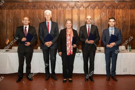 From L-R Mauro Pedrazzini of Liechtenstein, State Secretary Rolf Schmachtenberg of Germany, Beate Hartinger-Klein of Austria, Swiss Federal Councillor Alain Berset and Romain Schneider of Luxembourg pose after a declaration on the digital transformation of the world of work at the Swiss National Museum in Zurich, Switzerland, Switzerland, 29 April 2019.