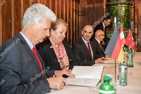From L-R State Secretary Rolf Schmachtenberg of Germany, Beate Hartinger-Klein of Austria, Swiss Federal Councillor Alain Berset, Mauro Pedrazzini of Liechtenstein, Romain Schneider of Luxembourg, sign a declaration on the digital transformation of the world of work at the Swiss National Museum in Zurich, Switzerland, Switzerland, 29 April 2019.