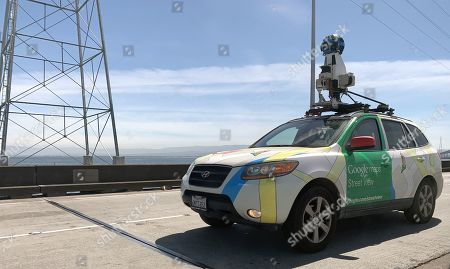 Google street view car drives eastbound to Hayward on the San Mateo Bridge in San Mateo, California, USA, 26 April 2019 (Issued 29 April 2019).
