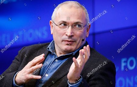Mikhail Khodorkovsky, an exiled Russian businessman who lives in Switzerland and is the founder of the Open Russia Movement, speaks during event at the Council on Foreign Relations about the future of Russia under Vladimir Putin in New York, New York, USA, 29 April 2019.