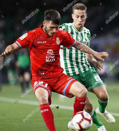 Betis' Sergio Canales (R) in action against Espanyol's Lluis Lopez (L) during the Spanish La Liga soccer match between Real Betis and RCD Espanyol in Seville, southern Spain, 29 April 2019.