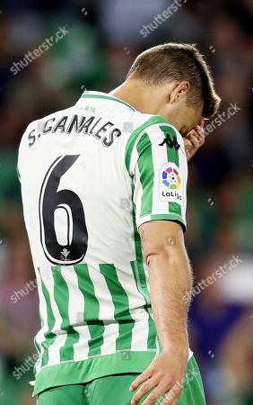 Betis' Sergio Canales reacts during the Spanish La Liga soccer match between Real Betis and RCD Espanyol in Seville, southern Spain, 29 April 2019.