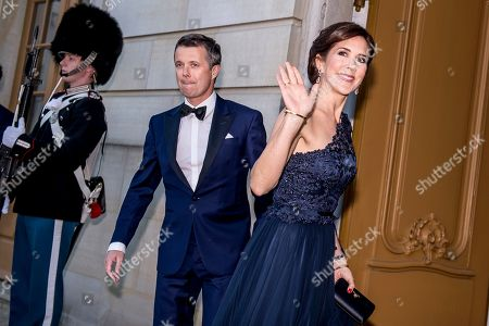 Crown Princess Mary (R) and Crown Prince Frederik of Denmark (C) arrive at Amalienborg castle in Copenhagen, Denmark, 29 April 2019, to celebrate the 75th birthday of  Danish Princess Benedikte, sister of Queen Margrethe of Denmark.
