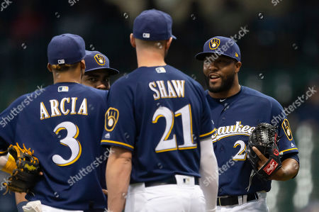 Milwaukee Brewers relief pitcher Jay Jackson #25 during the Major League Baseball game between the Milwaukee Brewers and the Colorado Rockies at Miller Park in Milwaukee, WI