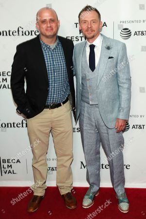 """Eric Kripke, Simon Pegg. Show runner, writer and executive producer Eric Kripke, left, and actor Simon Pegg attend a screening of """"Tribeca TV - The Boys"""" during the 2019 Tribeca Film Festival at the SVA Theatre, in New York"""