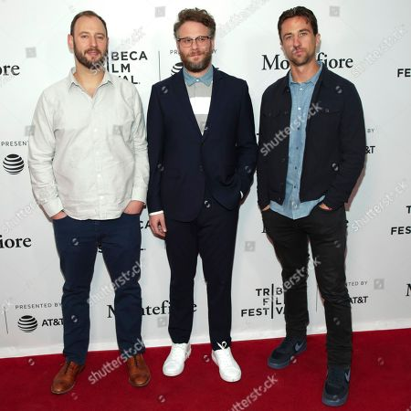 """Garth Ennis, Seth Rogen, Evan Goldberg. Comic Book writer/co-executive producer Garth Ennis, from left, executive producers Seth Rogen and Evan Goldberg attend a screening of """"Tribeca TV - The Boys"""" during the 2019 Tribeca Film Festival at the SVA Theatre, in New York"""